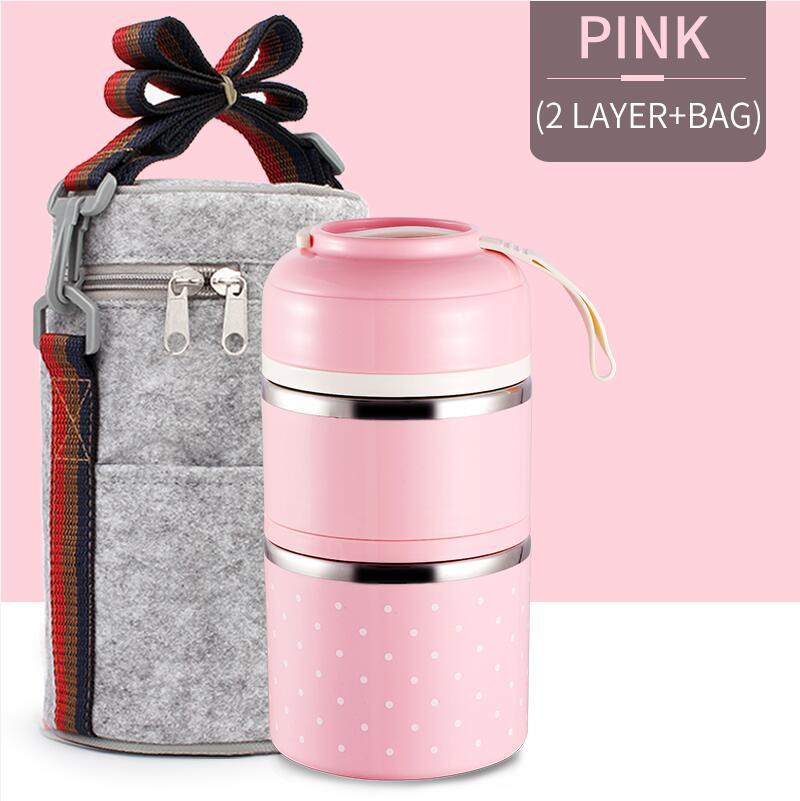Милые детские Термальность Коробки для обедов герметичность Нержавеющая сталь Bento box для детей Портативный Пикник школа Еда контейнер Box - Цвет: Pink 2 With Bag