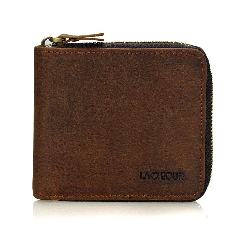 2018 Crazy Horse Leather Wallets Men Vintage Brown Solid Short Design Zipper Hasp Purse crazy horse quality Mens Wallet