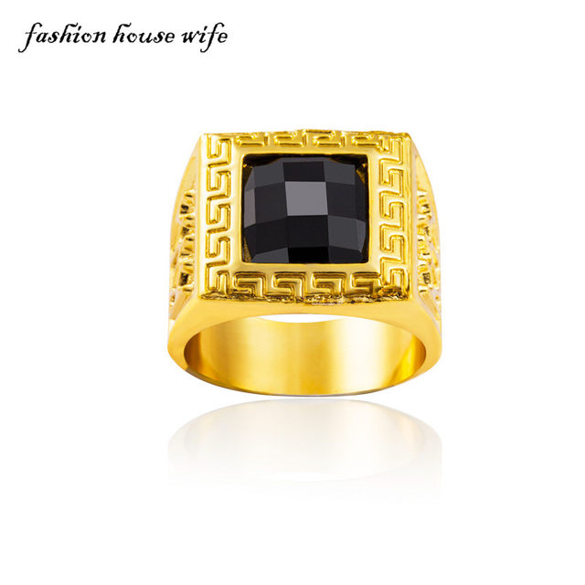 line Shop Bling bling Hiphop Ring Men Gold Iced out Black Stone