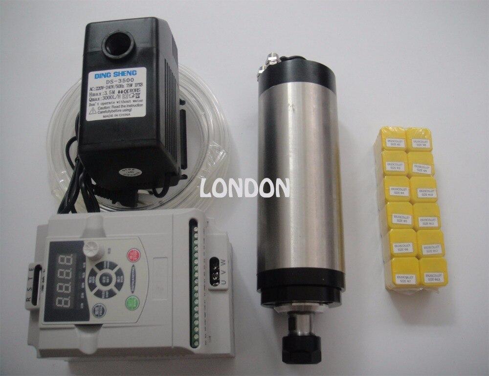 2.2KW 220V Spindle Water Cooled Kit ER20 Milling Spindle Motor + 2.2KW VFD + 80 Clamp + Water Pump + 12pcs ER20
