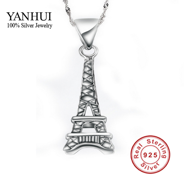 Yanhui fine jewelry 100 925 silver eiffel tower pendant necklace yanhui fine jewelry 100 925 silver eiffel tower pendant necklace with s925 stamp new trendy aloadofball Images