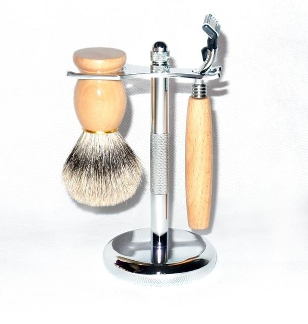Shaving Set Wooden Badger Shaving Brush Safety Straight Razor Stainless Steel Stand for Men's Shave