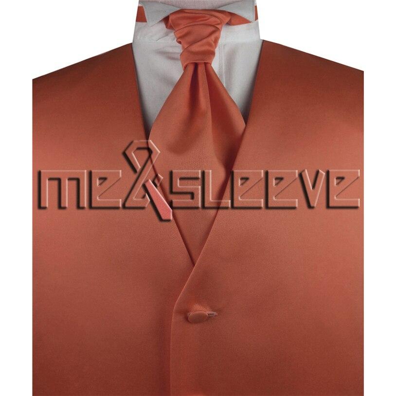 hot sale free shipping plain rust informal dresses(vest+ascot tie+cufflinks+handkerchief)