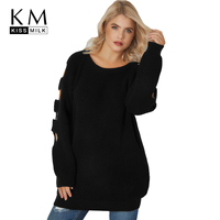 Kissmilk Plus Size Solid Hollow Out O Neck Full Sleeve Sweater 2018 New Arrival Women Clothing Casual Lady Long Pullovers