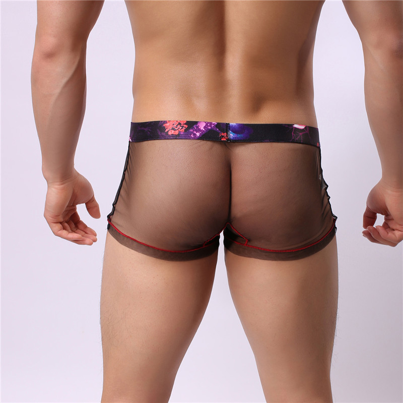 Fashion Sexy Men's High Elastic Mesh Cool See Through Boxer Underwear Like Wear Nothing Gay Adult Underpanty