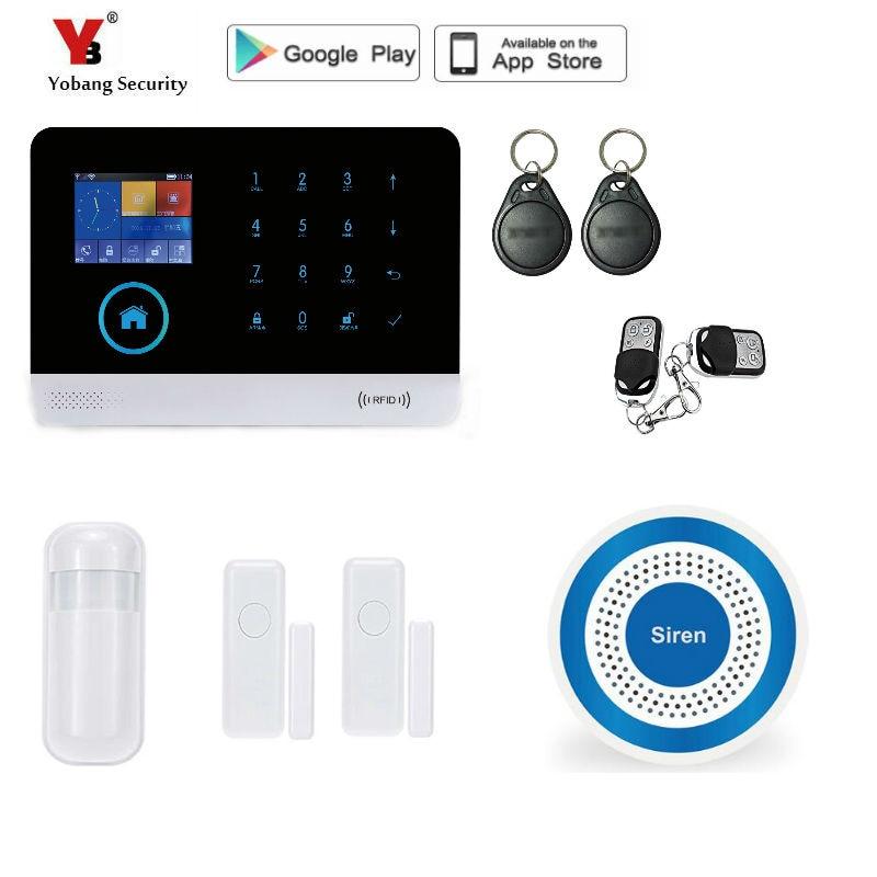 Yobang segurança Wireless Home Security WIFI GPRS 3G Câmera de Rede de Controle APP Sistema De Alarme Mini Alarme de Porta Sensor Magnético Kits