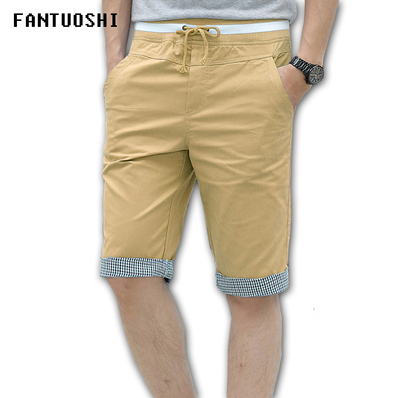 2018 New Shorts Men Solid Loose Elastic Shorts Cotton Casual Plus Size Shorts Elastic waist Shorts Khaki Black Blue White 5XL