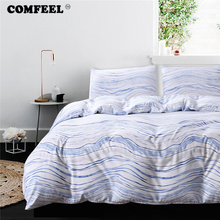 COMFEEL Cotton King Size Bedding Set 3pcs Comforter Wave Stripe Quilt Cover Simple Pillowcases Home Textile Twin Bed Sheet