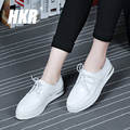 HKR 2017 spring women casual flats shoes female dress shoes walking shoes ladies soft leather white creepers shoes 2531