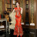 2016 Red Lace Cheongsam Dress Bride Strapless Wedding Qipao Chinese Traditional Dress Sexy Chinese Dresses Qi Pao Robe Orientale