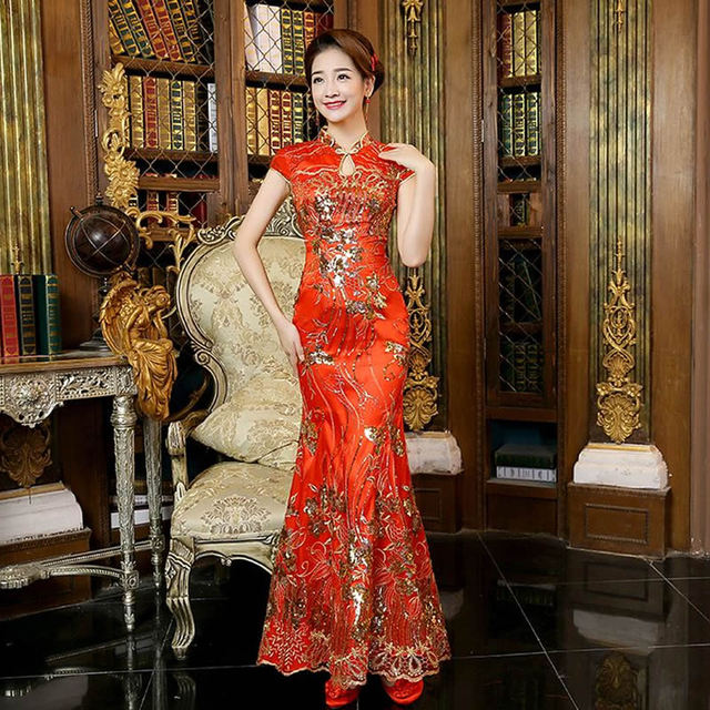 07939a76c3 2016 Red Lace Cheongsam Dress Bride Strapless Wedding Qipao Chinese  Traditional Dress Sexy Chinese Dresses Qi Pao Robe Orientale-in Cheongsams  from ...