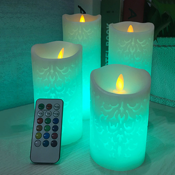 Dancing flame LED Candle with RGB Remote Control,Wax Pillar Candle for Wedding Christmas Decoration/room night light 3