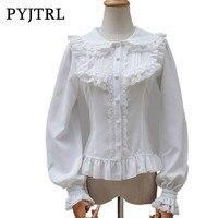 PYJTRL 2017 Japanese Style Lolita Blouse Sweet White Lace Long Sleeve Cambric Chiffon Women S Shirt