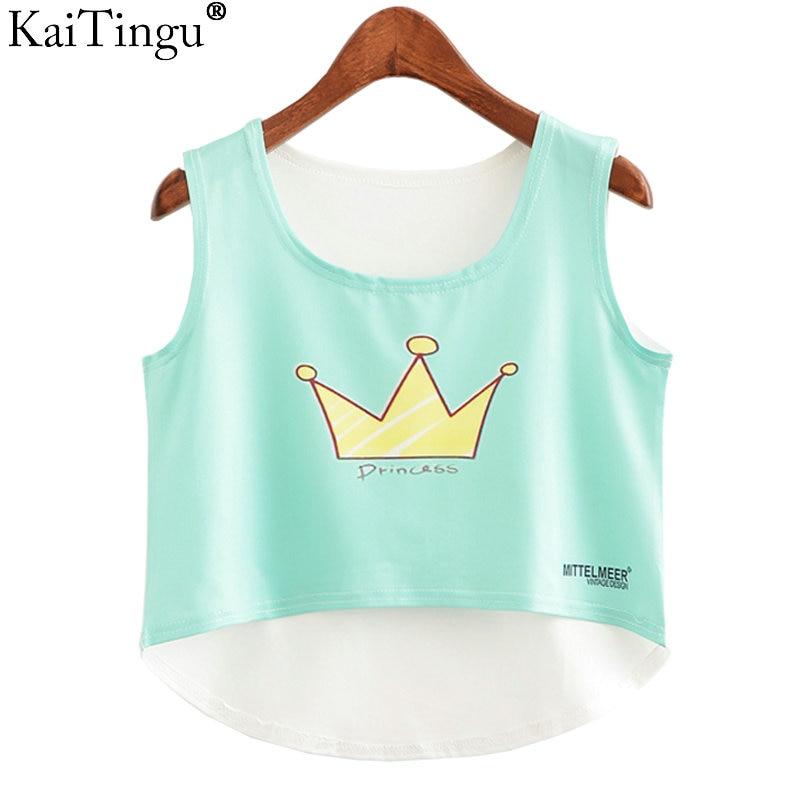 KaiTingu New 2017 Fashion Women Crop Top Sleeveless Cat Princess Print Summer Casual Top Women Short