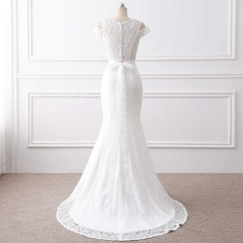 2018 Popodion koronki Mariage suknia ślubna biały łuk ślubne suknia ślubna syrenka Plus rozmiar suknia dla panny młodej vestido De noiva WED90389
