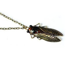 Fashion Unique Charm Vintage Bronze Metal Sweater Long Chain Insect Cicada Pendant Necklace For Gift