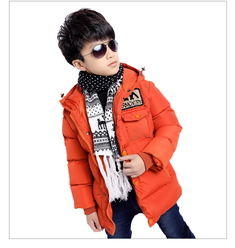 2016 new winter children feather boy clothes girls lattice in the long thick warm raccoon fur collar jackets outerwear parka