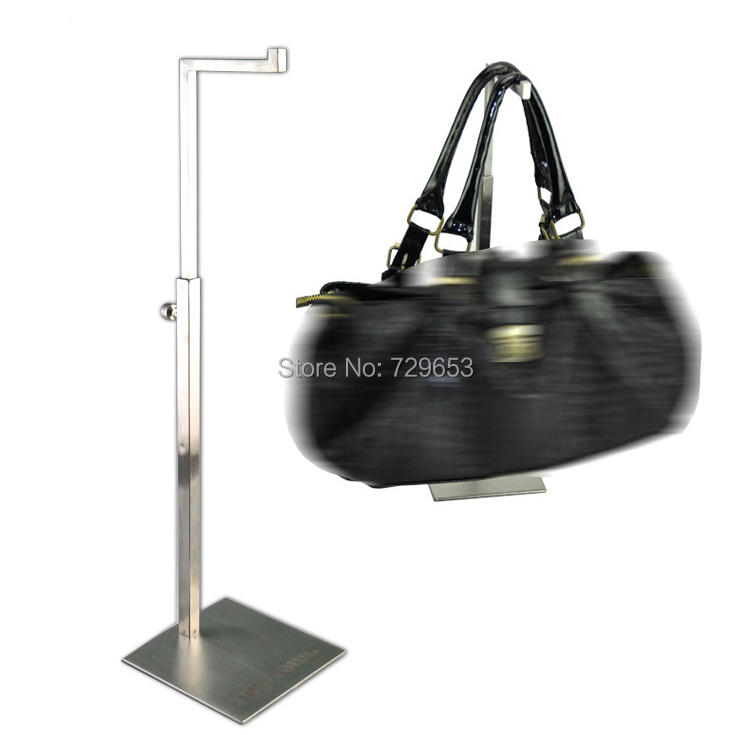 Matte Silver Handbag Display Stands Adjustable Handbag