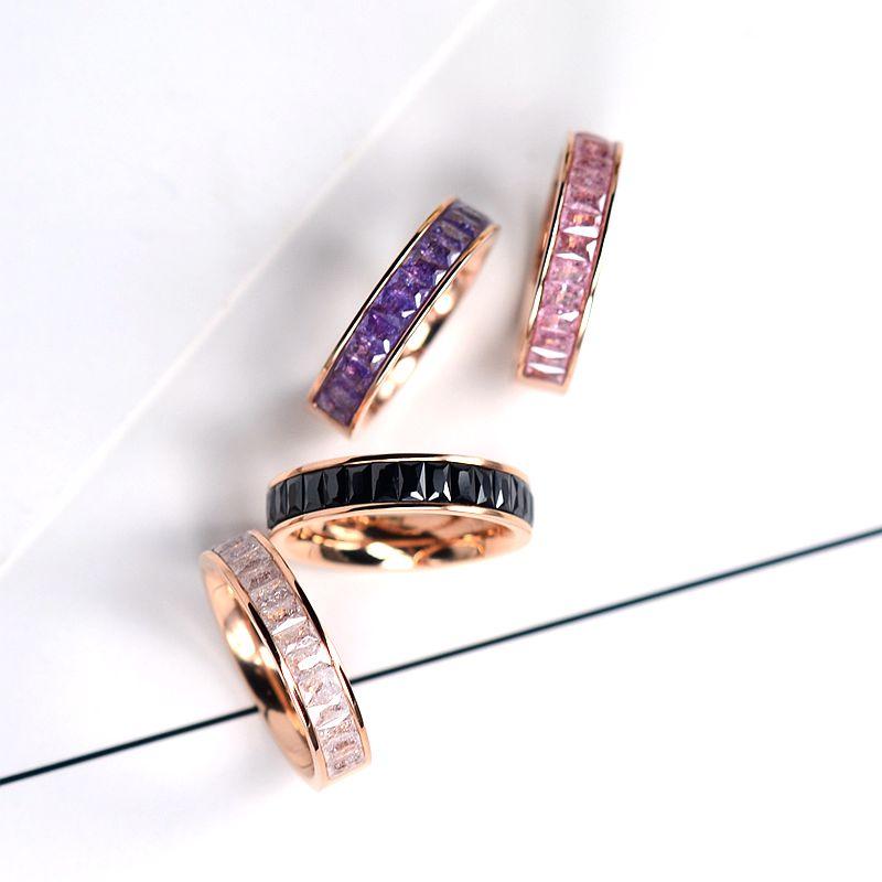 YUN RUO rožinis auksinis daugiaspalvis sniego cirkonio žiedas - Mados papuošalai - Nuotrauka 2