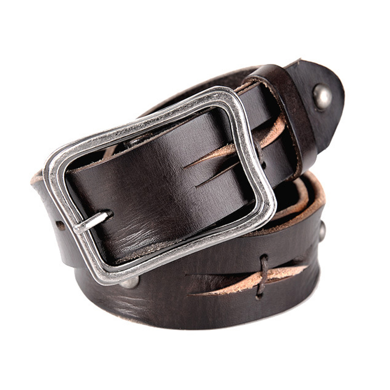 2017 winter Luxury genuine leather belt men vintage leather belts mens jeans strap black color wide strapping free shipping