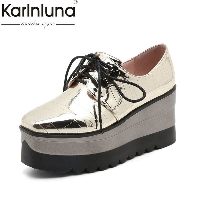 Karinluna 2018 High Quality Wedge High Heel Pumps Women Shoes Round Toe Lace Up Platform Comfortable Woman Pumps nayiduyun women genuine leather wedge high heel pumps platform creepers round toe slip on casual shoes boots wedge sneakers