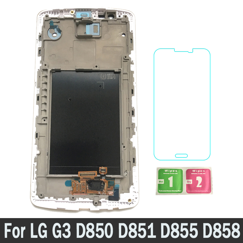 100% Tested New Replacement Parts LCDs Display For LG G3 D850 D851 D855 D858 With Frame LCD Touch Screen Digitizer Assembly100% Tested New Replacement Parts LCDs Display For LG G3 D850 D851 D855 D858 With Frame LCD Touch Screen Digitizer Assembly