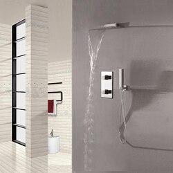 Wall mounted waterfall showerhead set chrome shower faucet with brass rain water column handheld shower bathroom.jpg 250x250