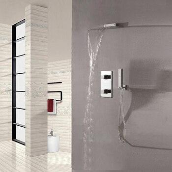 Wall mounted waterfall showerhead set chrome shower faucet with brass rain water column handheld shower bathroom.jpg 350x350