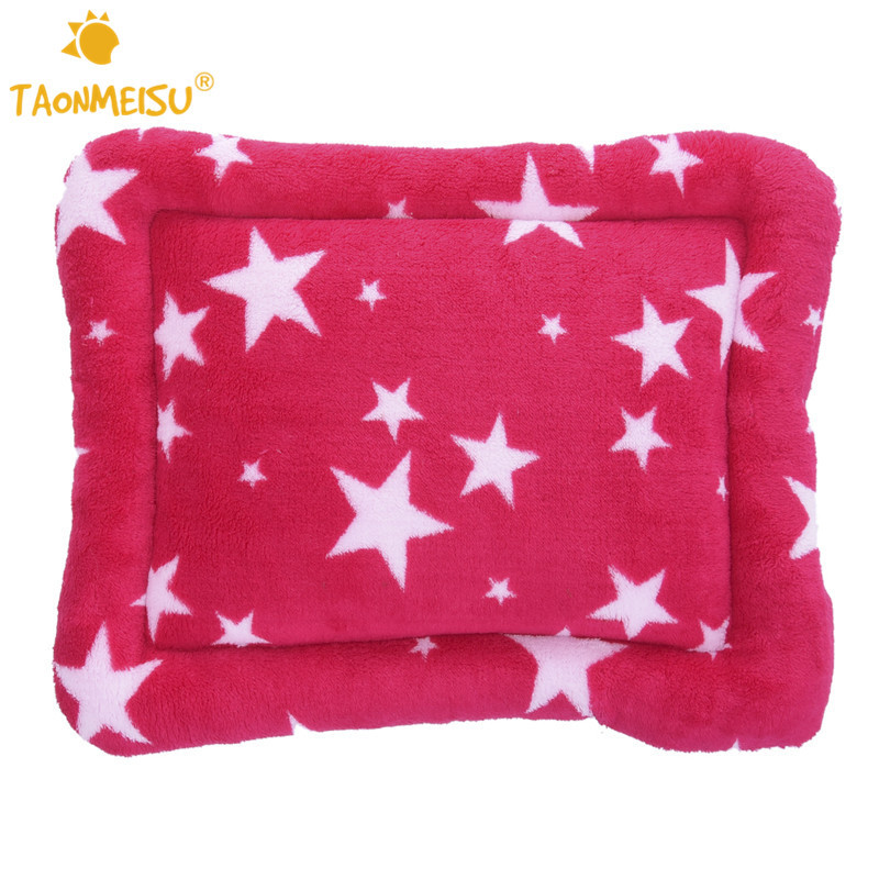 New!! 2 Colors Cute Stars Pet Dog Puppy Cat Mat Coral Fleece Star Print Soft Warm Pet Animal Sleep Bed Cushion Kennel 3 Sizes