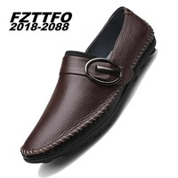 36 44 Handmade Genuine Leather Flats Men S Boat Shoes High Quality Loafers Brand Driving Shoes