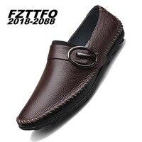 36-44 Handgemaakte Lederen Flats mannen Bootschoenen Hoge Kwaliteit Loafers Merk Rijden Schoenen K458