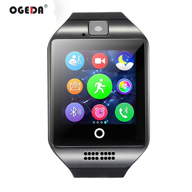 Astuto Della Vigilanza Q18 Passometer Orologio Intelligente con Touch Dello Schermo Della Macchina Fotografica della carta di TF Bluetooth Smartwatch per Android IOS Phone Vigilanza Degli Uomini