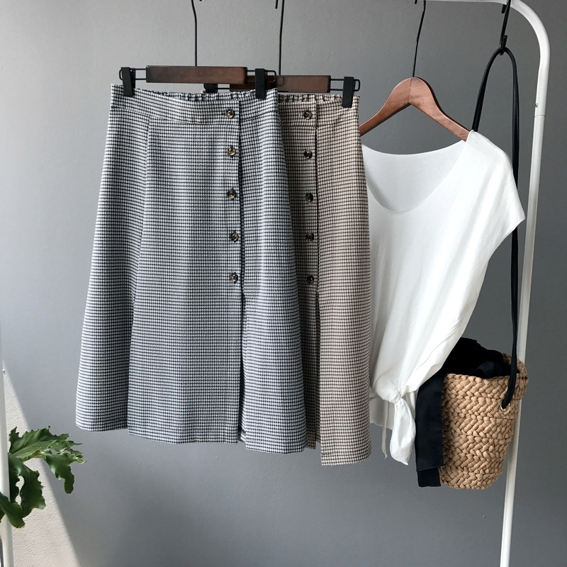 Vintage Lattice Skirts Women High Quality A-line Split Fork Elastic Waist Faldas Mujer Fashion Button Saias Na Altura Do Joelho