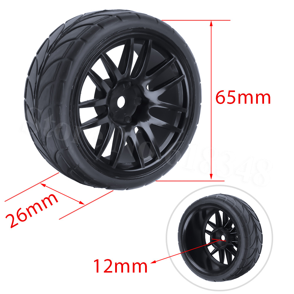 4шт RC Tire & Wheel Rim для 1/10 Шкала Nitro Power On Road Автомобіль HSP Sonic 94102
