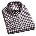 Осень 2016 Новых Людей способа С Длинным Рукавом Контрастность Плед Фланелевые Рубашки 100% Хлопок Человек Случайный Регулярный Fit Мужчины кнопка Вниз Рубашки