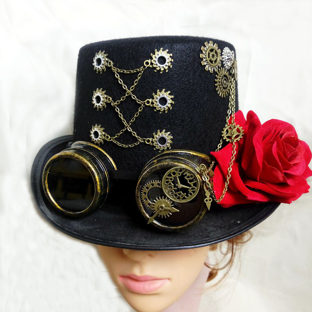 9bfeaaa6cb3c9 Steam Punk Man Woman Unisex Black Fedora Goggles Gear Clock Wheels Top Hat  Party Cosplay