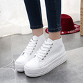 New Solid White Height Increasing Women Casual Shoes Star Same Style High Quality PU Leather Breathable Cut-outs Girls Favorite