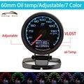 HB 60 мм 7 Цвет в 1 году Гонки Калибр GReddi Multi D/ЖК-Цифровой Дисплей Температура Масла Датчик Автомобилей Калибр 2.5 дюймовый