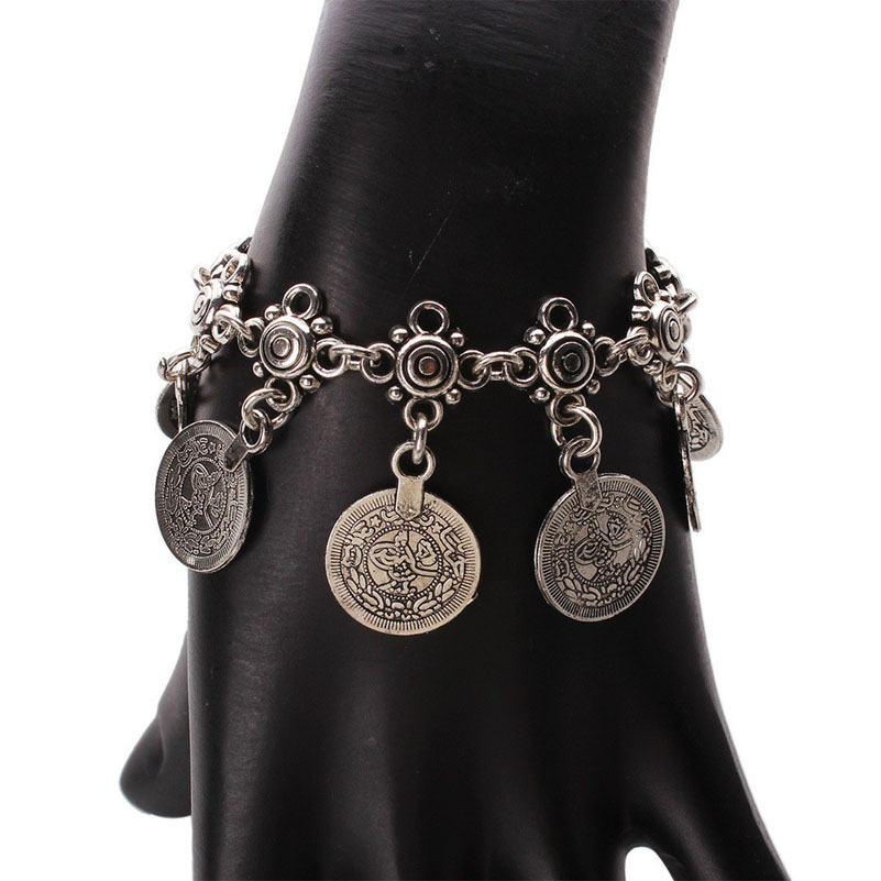 Bohemian Antalya Coin Bracelet Silver Gypsy Boho Coachella Festival Turkish Jewelry Sinaya Tribal Ethnic Jewelry 10Pcs/lot