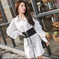 White Shirt Dress Women Turn Down Collar Long Sleeve Belted Asymmetrical Short Dress Summer Office Work