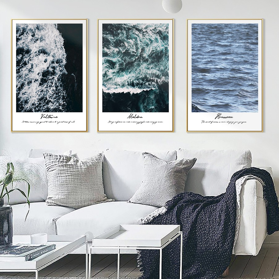 Modern Sea Wall Pictures For Living Room Home Decor Waves Canvas ...