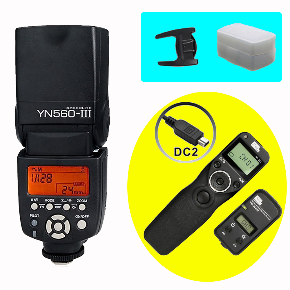 YONGNUO YN560III YN560-III Wireless Flash Speedlite & PIXEL TW-283 DC2 Timer Remote Control For D5200 D5100 D3300 D3200 D750 D90