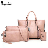 High Quality Women Bag Fashion 2019 PU Leather Women Four Set Handbag Shoulder Bags Four Pieces Tote Bag Crossbody Wallet
