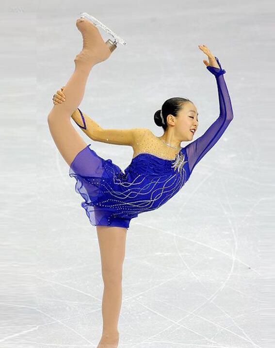 Azul patinaje de la competición de las mujeres encargo del hielo del vestido arropa El envío libre