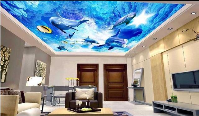 custom 3d modern ceiling murals dolphin 3d wallpaper for ceiling living  room wallpaper large wall mura