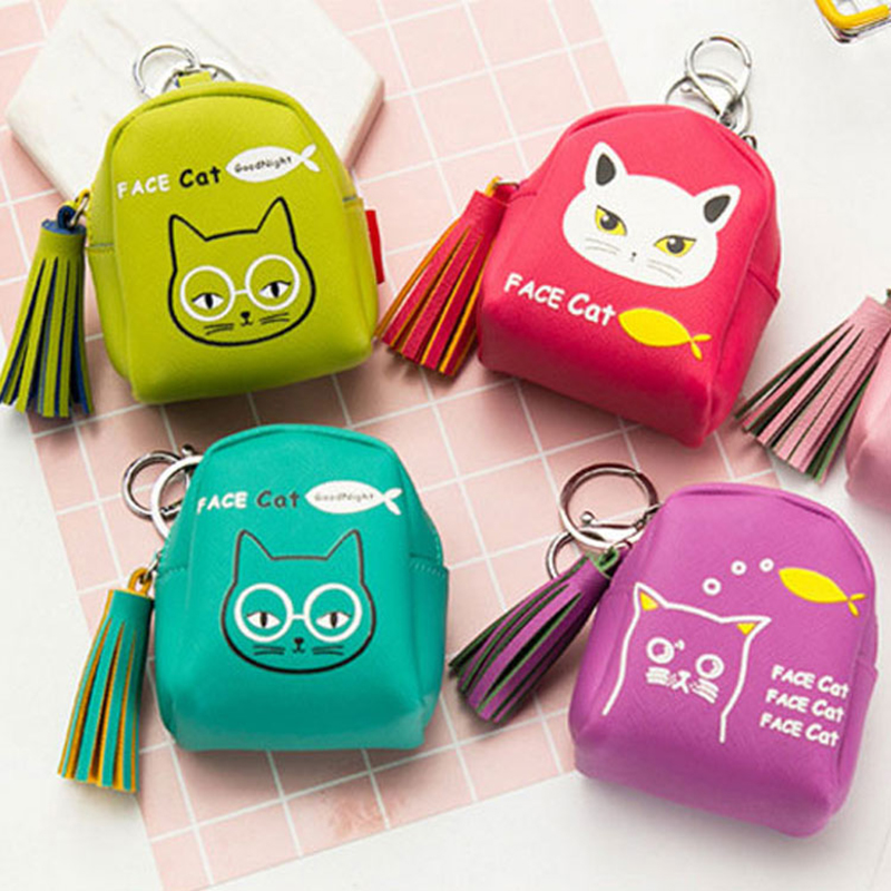 XYDYY Fashion Satchel Style Coin Purses Women PU Leather Zipper Keychain Schoolbag Coin Purses Cats Prints Female Key Wallet Bag