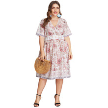 Summer Big Size Dresses for Women Super Casual Print Floral Lace Mid Dress Ladies Oversized Plump Girl Elegant