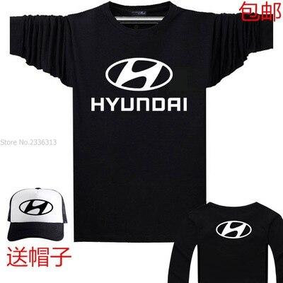 De Nieuwe Auto Logo Hyundai Lange Mouwen T Shirt Fashion Herfst