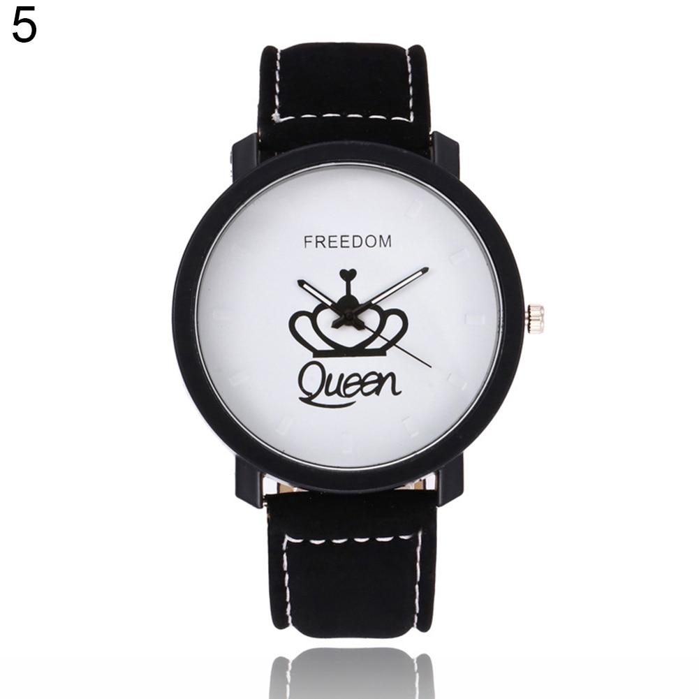Новинка, пара, Королевская корона, Fuax, кожа, Кварцевые аналоговые наручные часы, хронограф, Wom reloj mujer - Цвет: 5