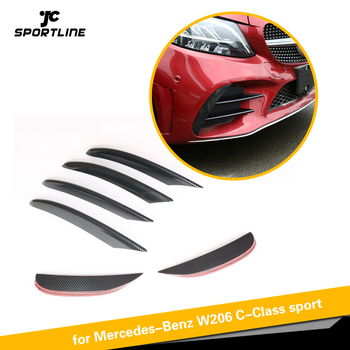 For Mercedes-Benz C Class W206 C200 C300 2019 Front Bumper Lip Fender Trim Air Vent ABS Glossy Black Carbon Look Silver image